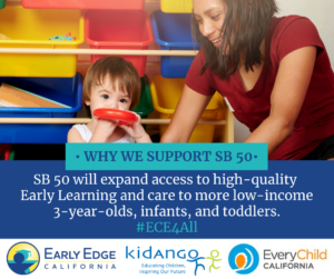 SB 50 will expand access to high-quality Early Learning and care to more low-income 3-year-olds, infants, and toddlers. #ECE4All
