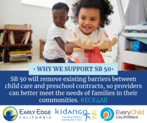 SB 50 will remove existing barriers between child care and preschool contracts, so providers can better meet the needs of families in their communities. #ECE4All